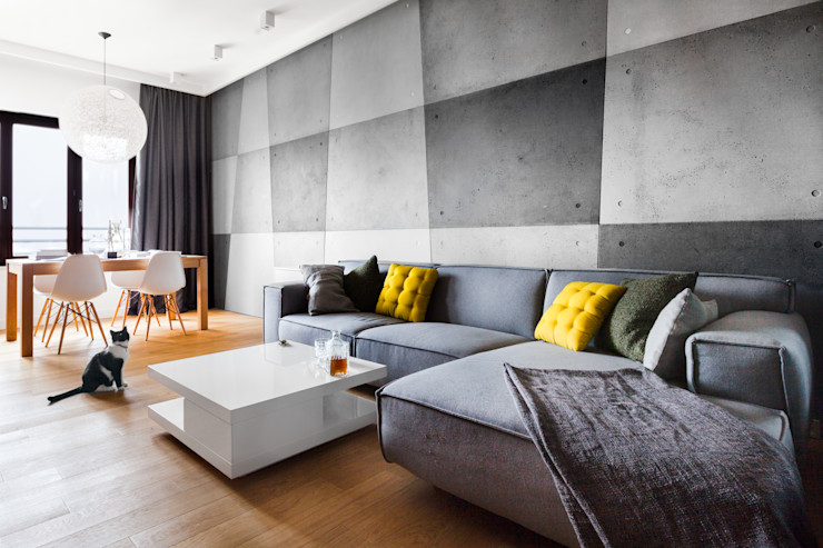 Contractors Modern living room Concrete Grey