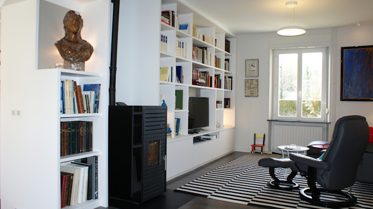 Meuble sur mesure salon Agence C+design - Claire Bausmayer Salon moderne