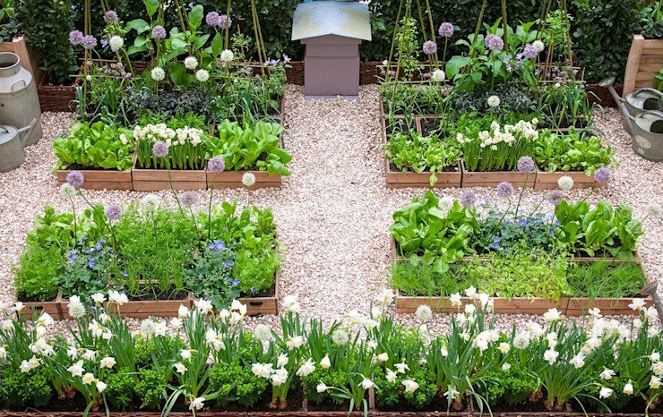 London Kitchen Garden - Small Garden Design by LS+L homify 庭院 木頭 Multicolored