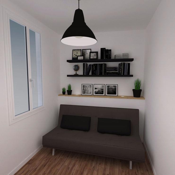 Image 3D du projet - Espace modulable chambre d'amis / bureau Agence Ideco Bureau moderne