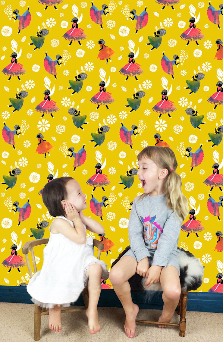 Flower Girls - Wallpaper - Yellow Sas and Yosh Walls & flooringWallpaper