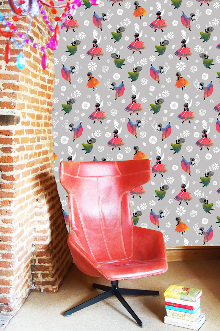 Flower Girls - Wallpaper - Grey Sas and Yosh Walls & flooringWallpaper