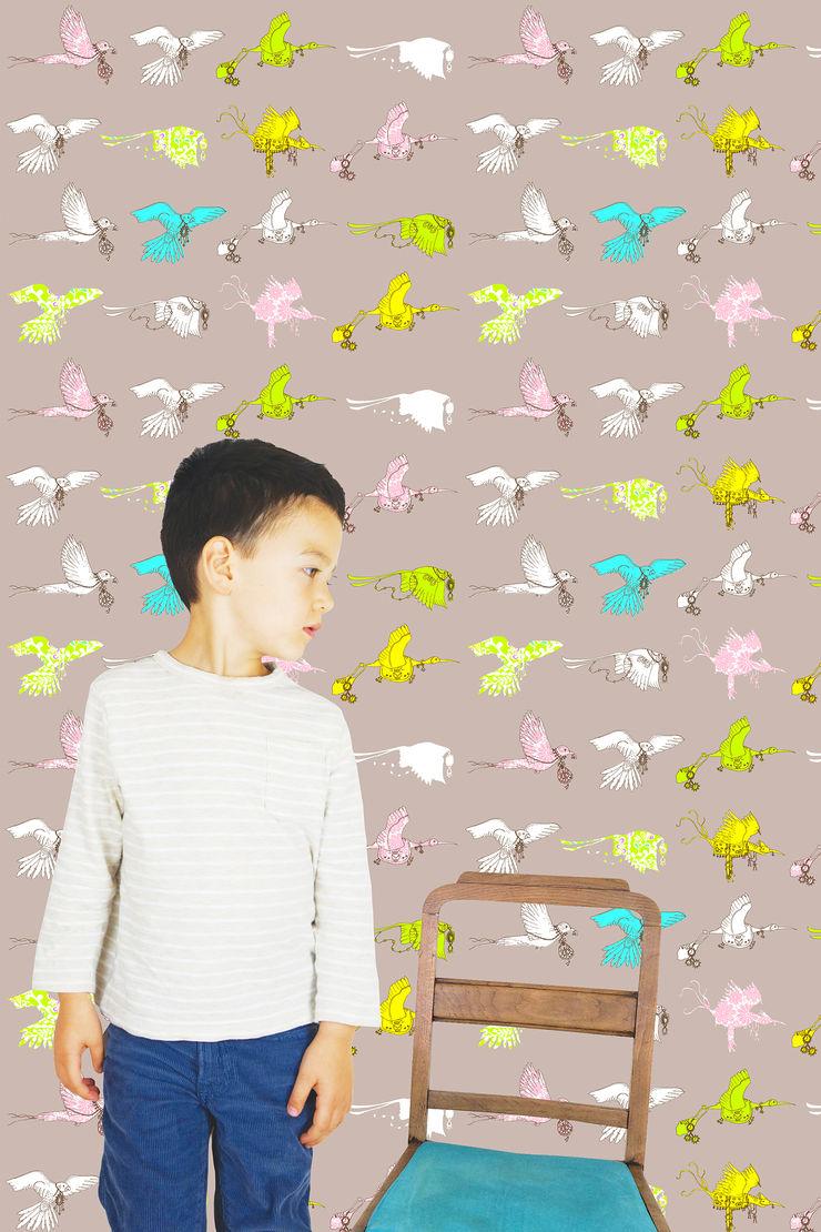 Flying Journey - Wallpaper - Charcoal Sas and Yosh Walls & flooringWallpaper