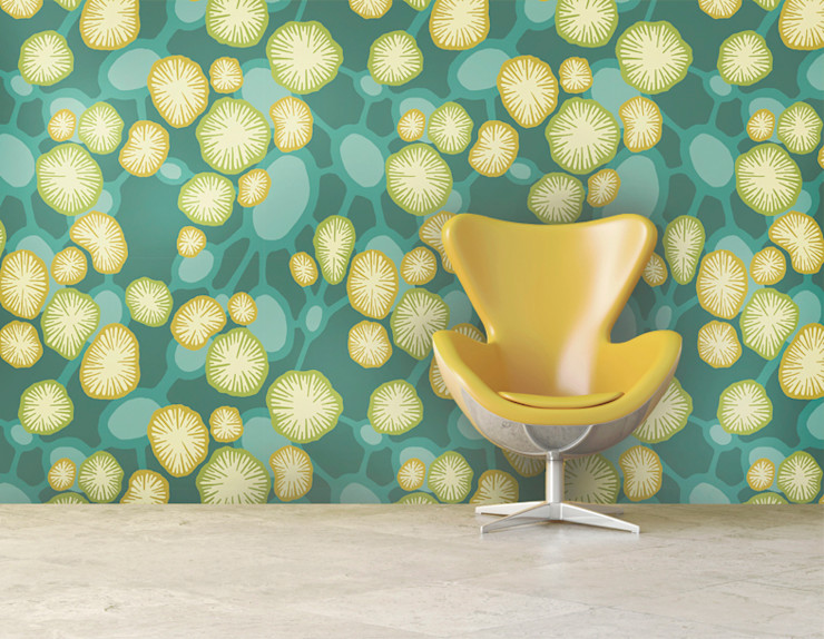 Coral Atoll Bright Ocean-Inspired Feature Wallpaper Interiors by Element Paredes y pisosRevestimiento de paredes y pisos