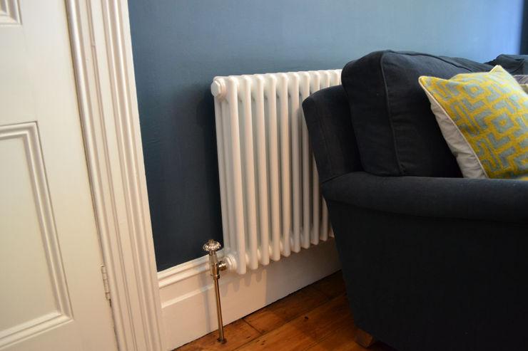 Three column white radiator Mr Central Heating Modern living room