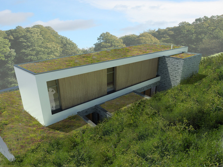 Vue de la façade arrière 3B Architecture Salle de bain minimaliste