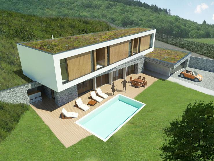 Vue axonométrique de la façade sud 3B Architecture Balcon, Veranda & Terrasse minimalistes