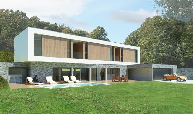 Vue depuis le jardin 3B Architecture Chambre minimaliste