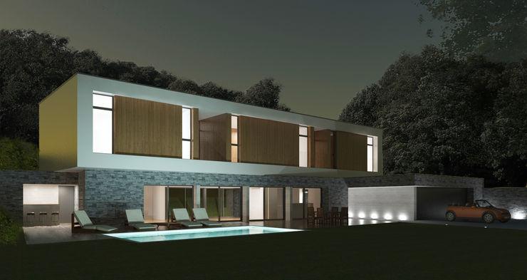 Vue de nuit 3B Architecture Chambre minimaliste
