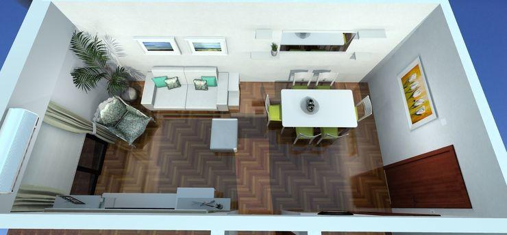 Render 3D - Espacio físico General Muebles del angel Salones de estilo moderno