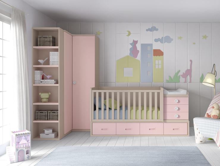03.- Dormitorio infantil con cuna convertible Muebles MECA DormitoriosArmarios y cómodas Acabado en madera
