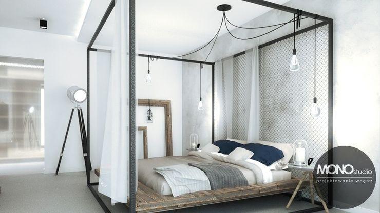 Stylizowana sypialnia z wykorzystaniem surowych materiałów MONOstudio Nowoczesna sypialnia