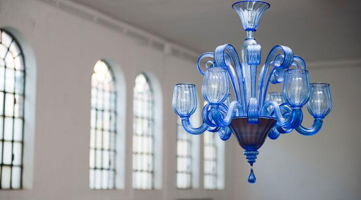 CELSI - Modern clear blue chandelier YourMurano Lighting BedroomLighting Glass Blue