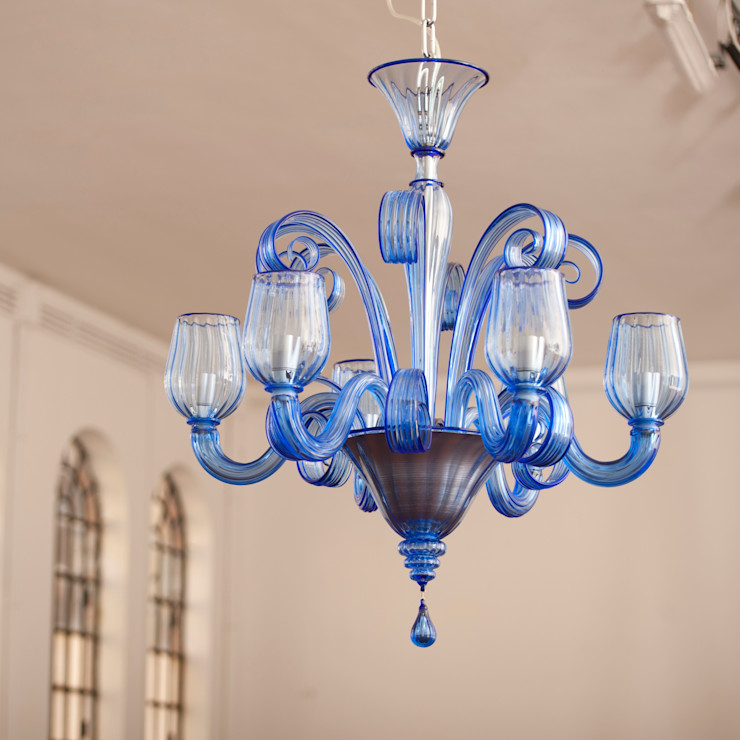 CELSI - Modern clear blue chandelier YourMurano Lighting Living roomLighting Glass Blue