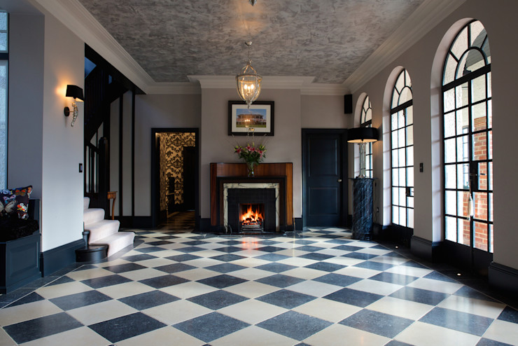Tora Blue Limestone floor tiles in a tumbled finish. Artisans of Devizes Salon classique