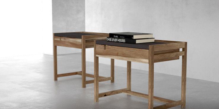 Mesas de luz madera y cuero Forma muebles DormitoriosMesitas de luz Madera maciza Acabado en madera