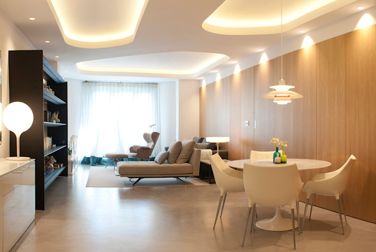 MADG Architect Гостиная в стиле модерн Эффект древесины