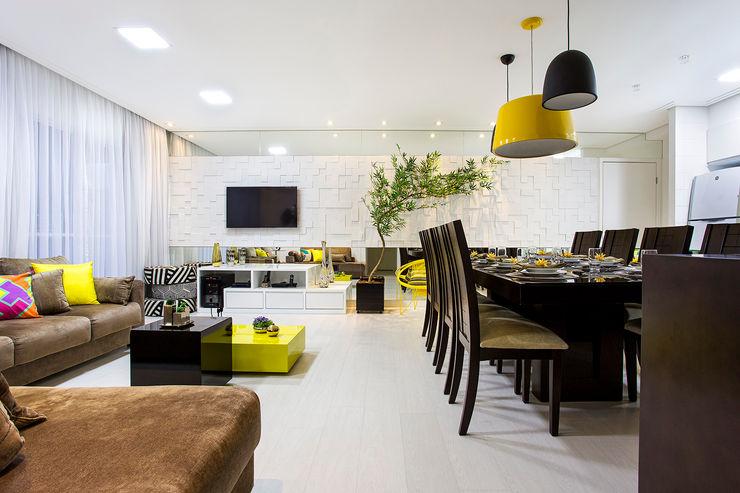 Apartamento São Bernardo Amanda Pinheiro Design de interiores Salas de jantar modernas Amarelo