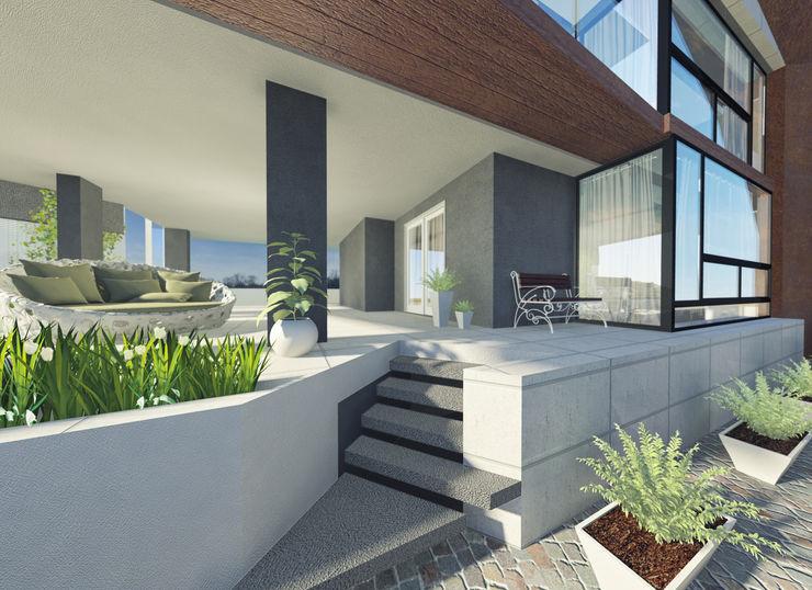 a5studio Pasillos, vestíbulos y escaleras modernos