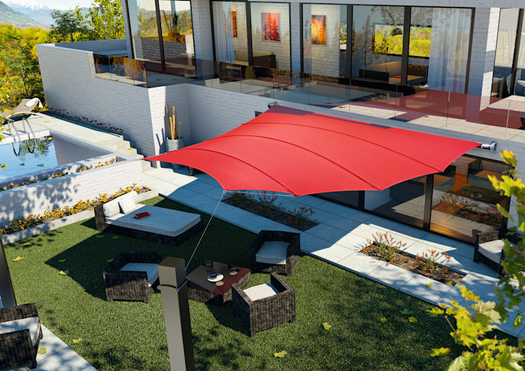 derraumhoch3 Balcone, Veranda & TerrazzoAccessori & Decorazioni Bianco