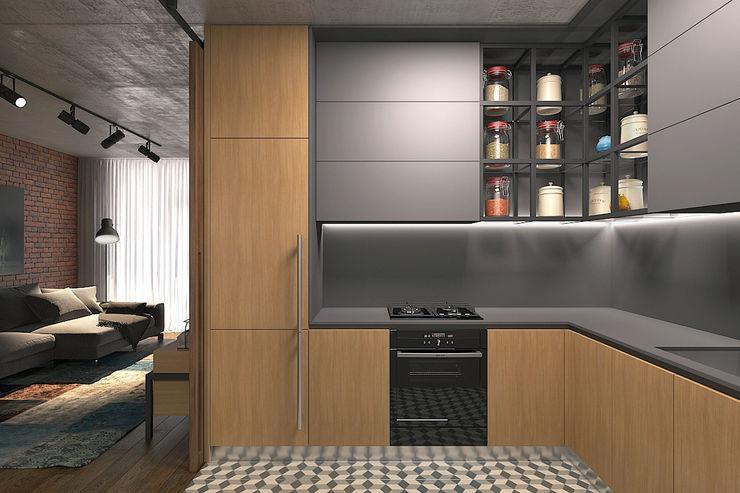 Lugerin Architects Cozinhas industriais Madeira Cinza