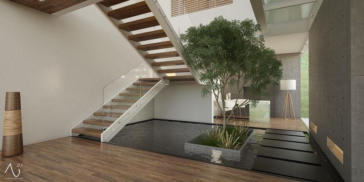 21arquitectos Minimalistische gangen, hallen & trappenhuizen