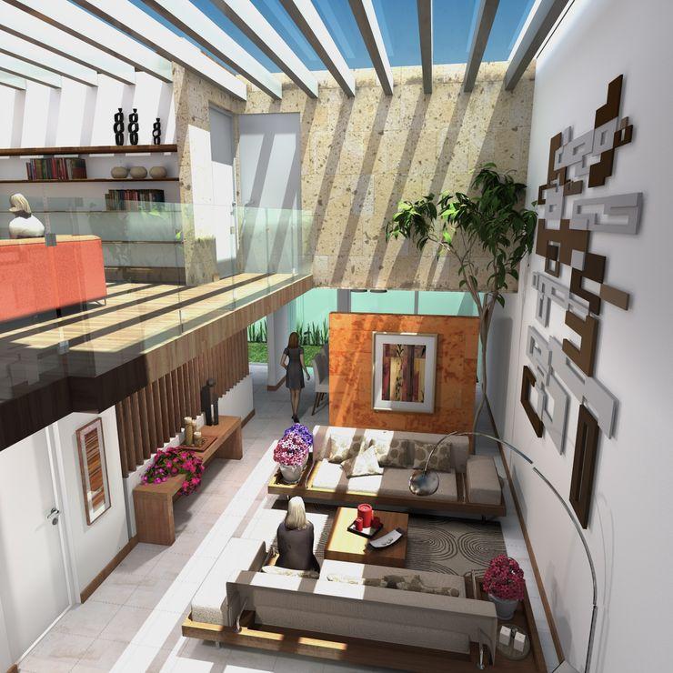 Estancia Principal Milla Arquitectos S.A. de C.V. Salones de estilo minimalista Blanco