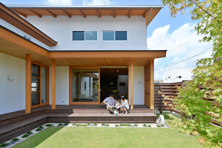 haws建築設計事務所 스칸디나비아 발코니, 베란다 & 테라스 우드 녹색