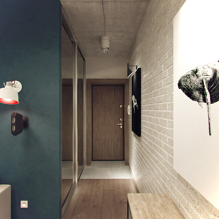 Студия дизайна Марии Губиной industrial style corridor, hallway & stairs