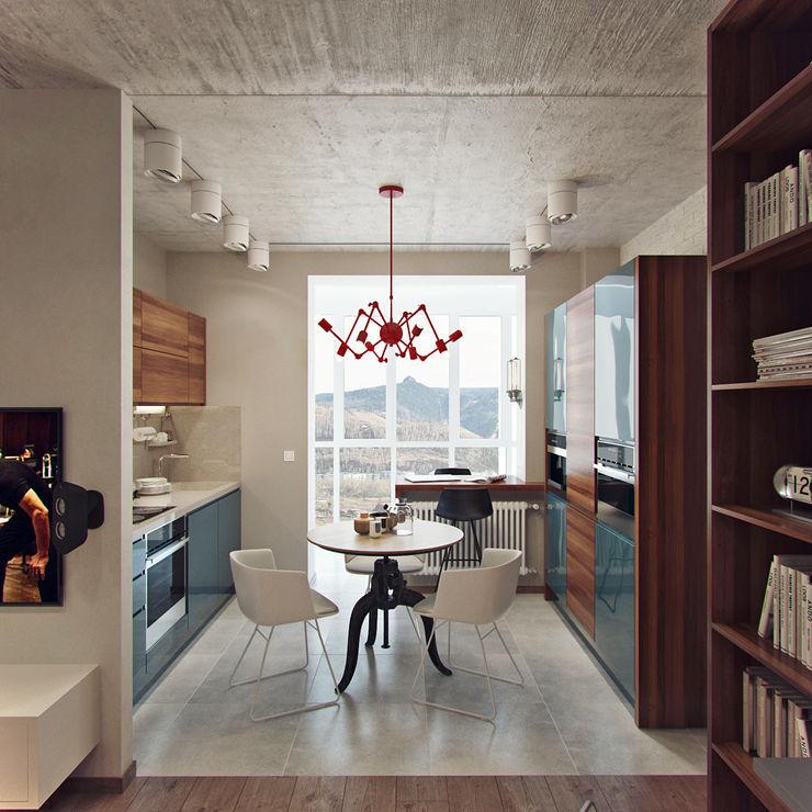 Студия дизайна Марии Губиной Industrial style dining room
