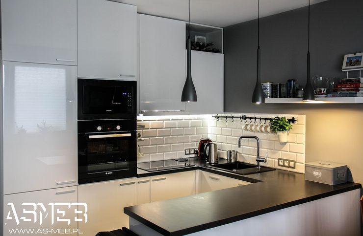 AS-MEB Cocinas de estilo escandinavo Tablero DM Blanco