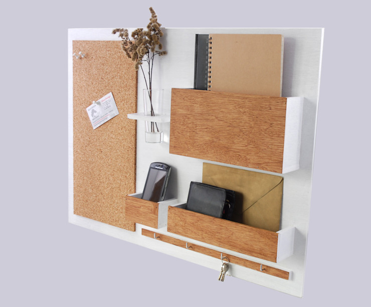 Organizer - 63x45 cm, drewniany - biały plus Silva Design Domowe biuro i gabinetMeble do przechowywania Sklejka Biały