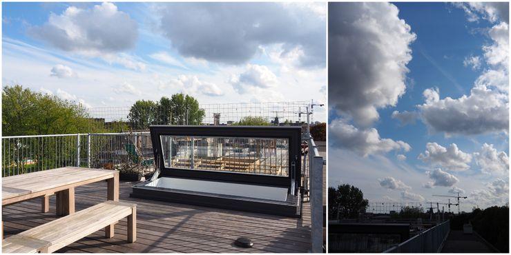 Rooftop access Amsterdam Loft Glazing Vision Balcones y terrazas de estilo ecléctico Vidrio