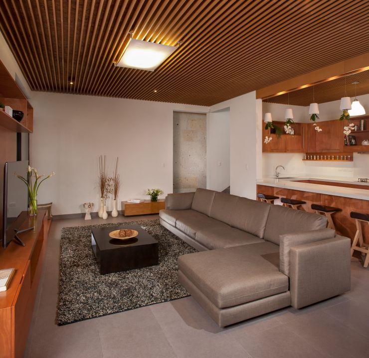 Casa Ming LGZ Taller de arquitectura Salones modernos Textil Gris