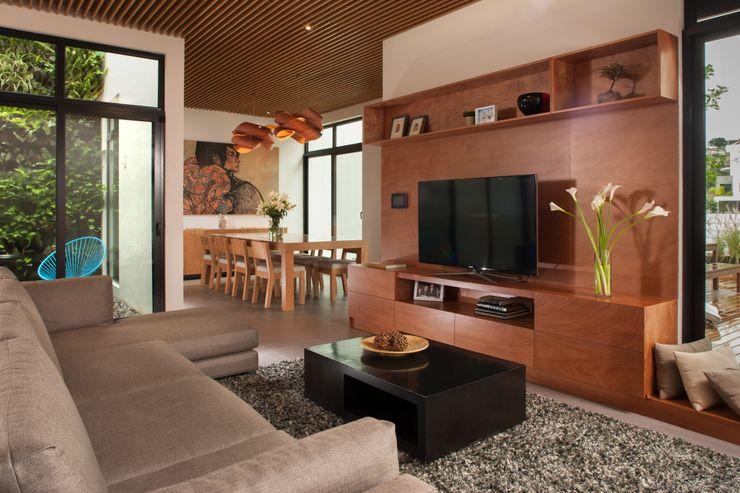 LGZ Taller de arquitectura غرفة المعيشة خشب Wood effect