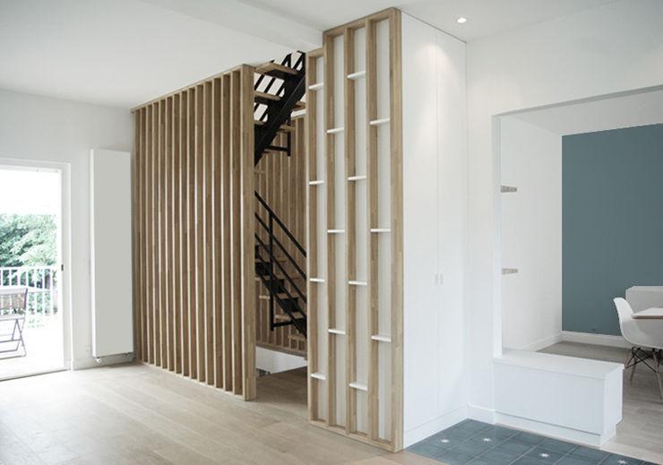 Entrée + vue sur l'escalier Yeme + Saunier Couloir, entrée, escaliers minimalistes Bois massif Blanc
