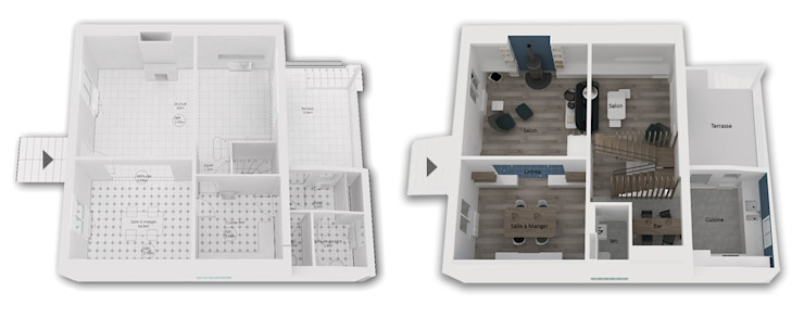 Niv RDC - Maquette 3D Existant / Projet Yeme + Saunier