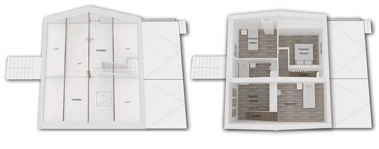 Niv R+1 et Mezzanine - Maquette 3D Existant / Projet Yeme + Saunier