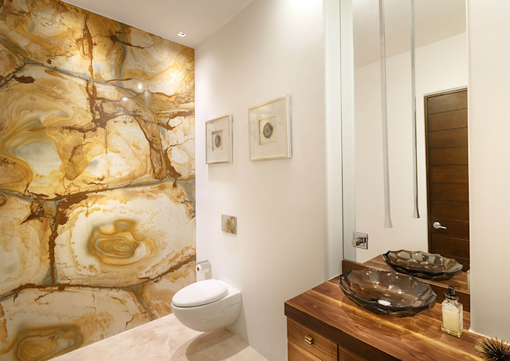 Imativa Arquitectos Bagno moderno Marmo Ambra/Oro