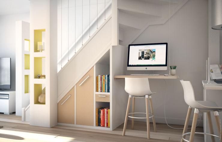 Aménagement d'un escalier Concept d'intérieur Couloir, entrée, escaliers modernes Bois Beige