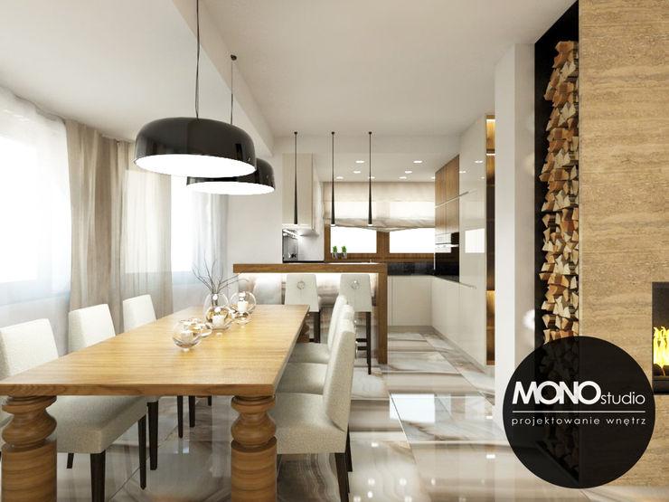 Nowoczesna otwarta na salon kuchnia w minimalistycznym charakterze MONOstudio Nowoczesna kuchnia Kompozyt drewna i tworzywa sztucznego Biały
