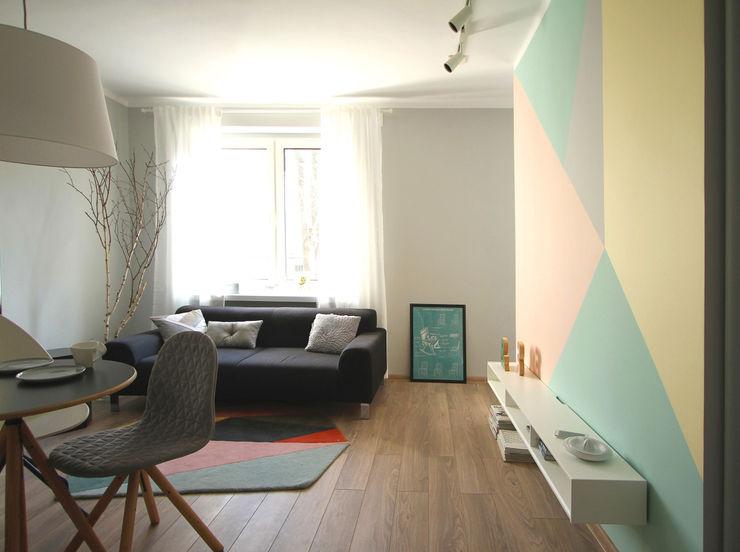 mieszkanie w stonowanej kolorystyce Archomega Nowoczesny salon