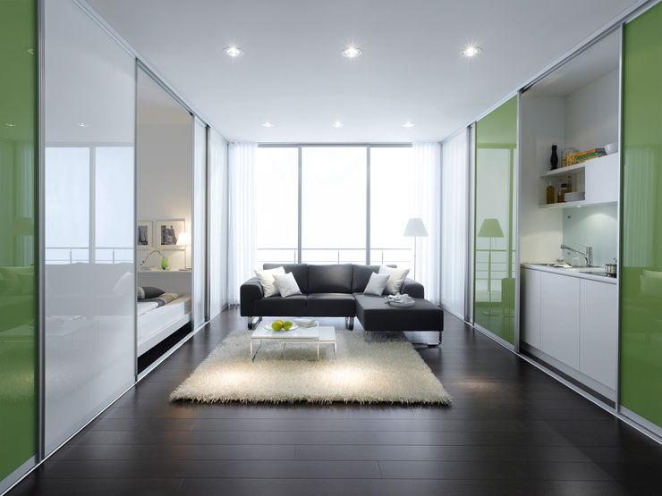 Studio Flat Room Divider Sliding Doors by Bravo London. Bravo London Ltd Walls Glass Green