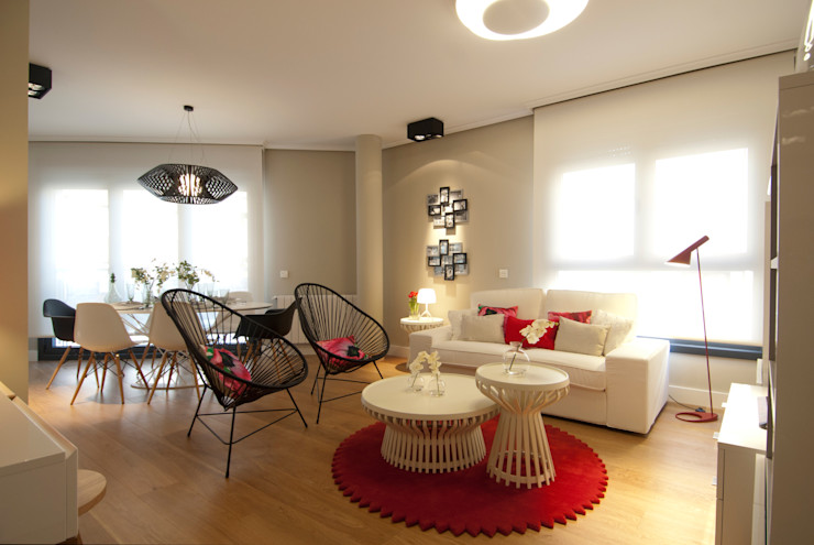Sube Interiorismo 现代客厅設計點子、靈感 & 圖片 Beige