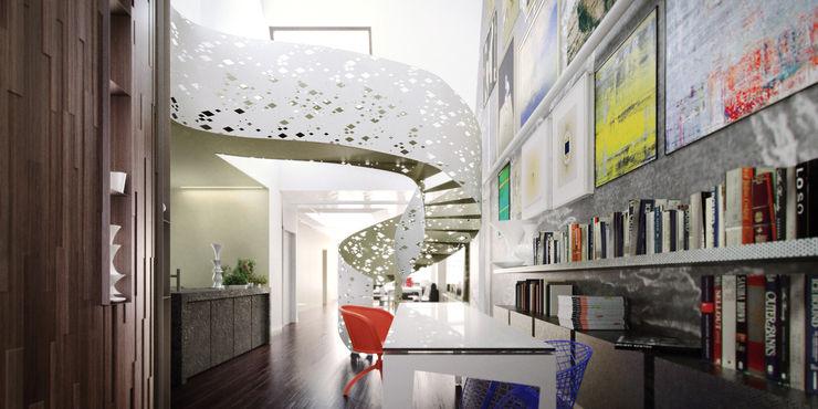 Stair de-cube Ingresso, Corridoio & Scale in stile eclettico