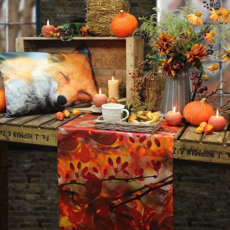 DIgitaldruck Kissen SWEET DREAMS und Tischläufer AUTUMN DELIGHT Sander Tischwäsche EsszimmerAccessoires und Dekoration Textil Orange