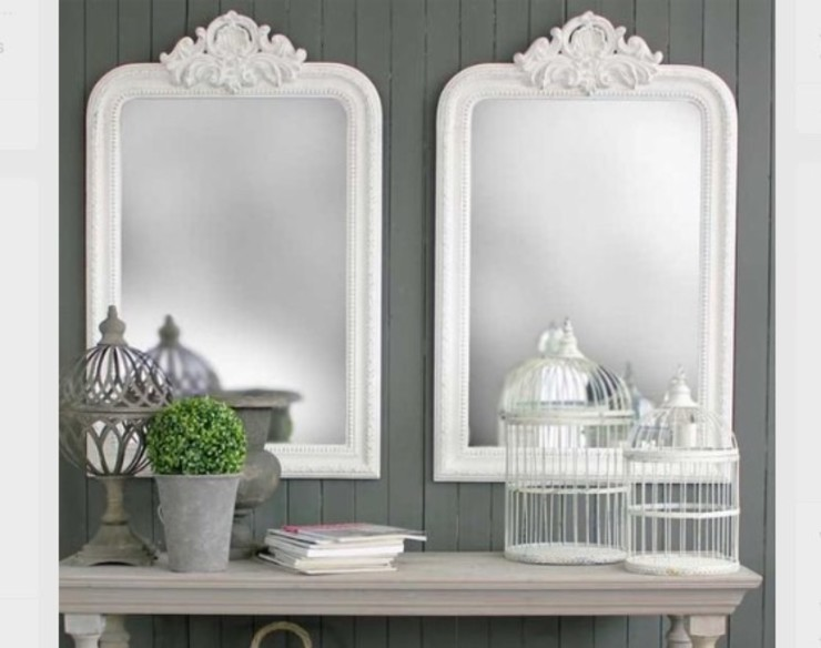 Double mirrors Mirrors by Ottilie Corridor, hallway & stairsAccessories & decoration Wood White