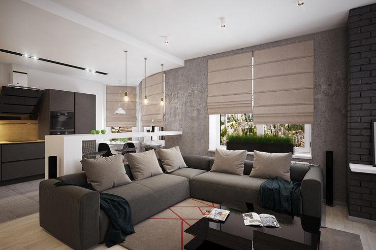 Solo Design Studio Industrial style living room Grey