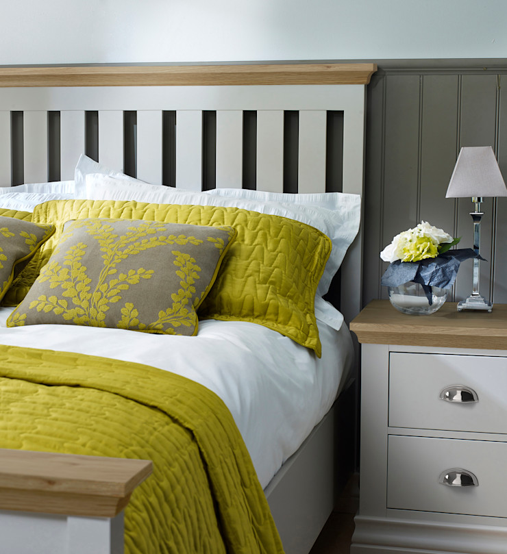 Annecy Hand Painted Imperial Bed and 2 Drawer Bedside Cabinet Corndell Quality Furniture BedroomBeds & headboards Wood Grey