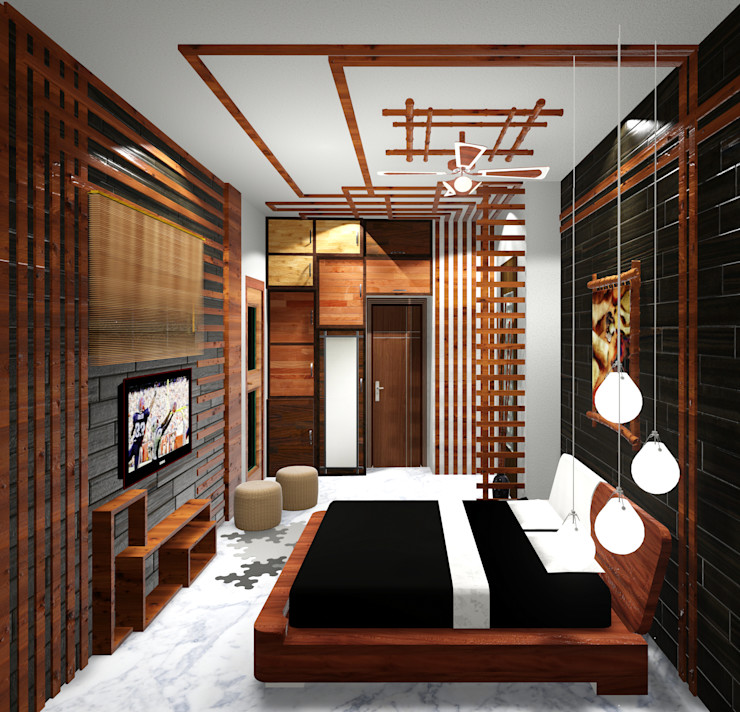 Room 1 straight view Creazione Interiors Modern style bedroom Plywood
